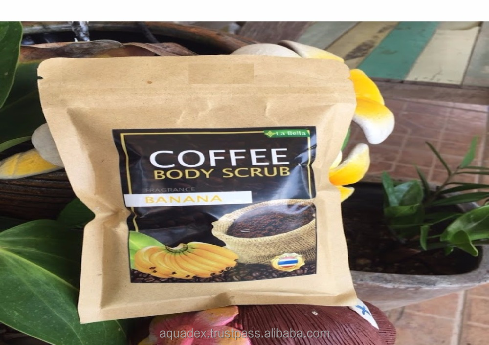 BANANA COFFEE BODY SCRUB La Bella ANTI-CELLULITE Coffee Scrub Packaging Bag Resealable Kraft Paper Pouch Foil Lined Doypack