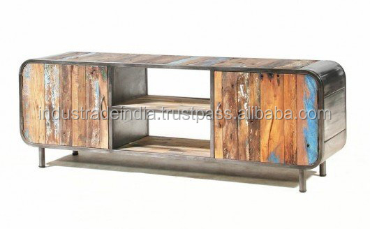Recycled Colorful Wood & Metal Tv Console