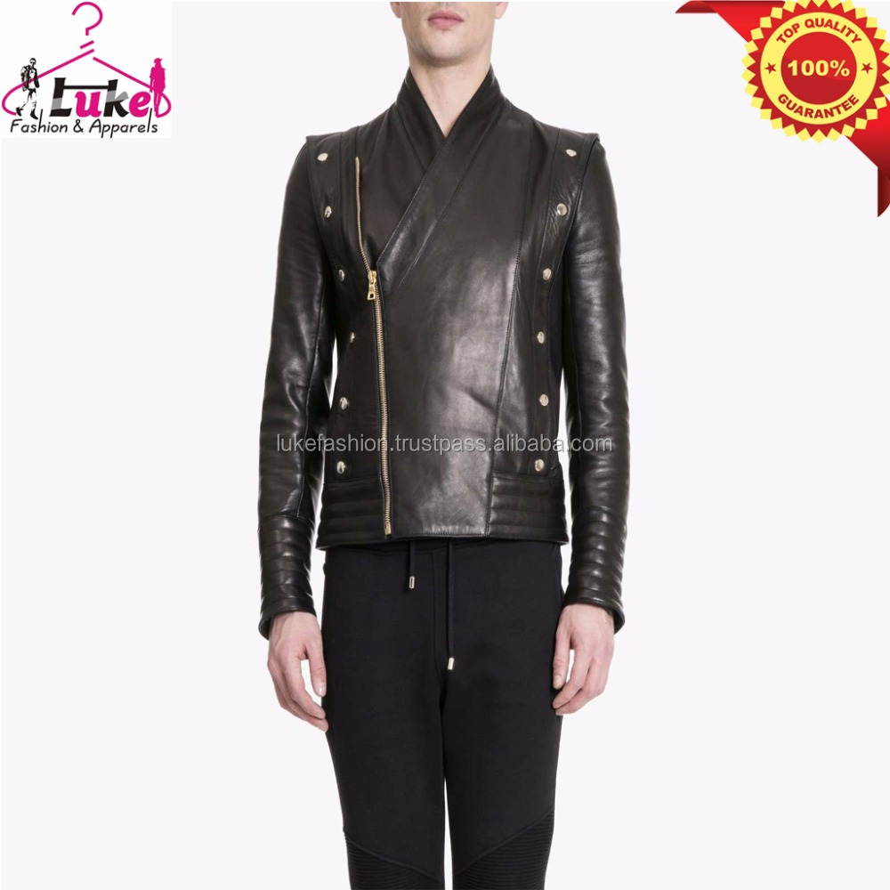 100% lambskin soft leather men famous brand high quality luxury studded leather jacket made in korea
