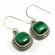 Bohemian Style !! Malachite 925 Sterling Silver Hook Earring, Wholesale Silver Jewelry, Handcrafted Silver Jewelry India Jaipur