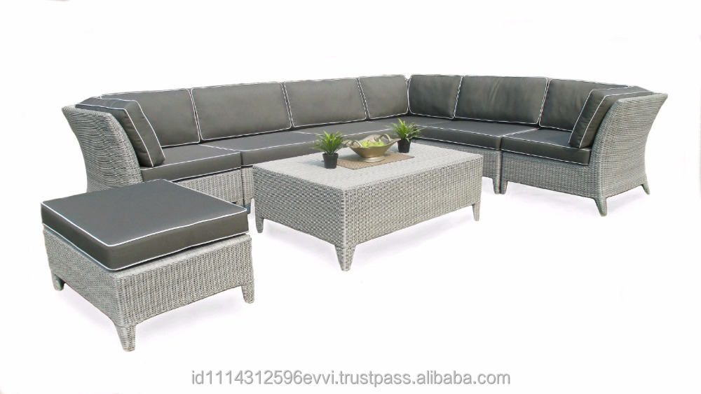 Stylish Outdoor Indoor Garden Synthetic Rattan Sectional Sofa Furniture Oceane Set (with aluminium frame)
