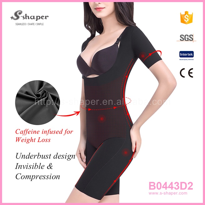 S - SHAPER Corset Belt Short Sleeve Caffeine Infused Bodysuit B0443D2