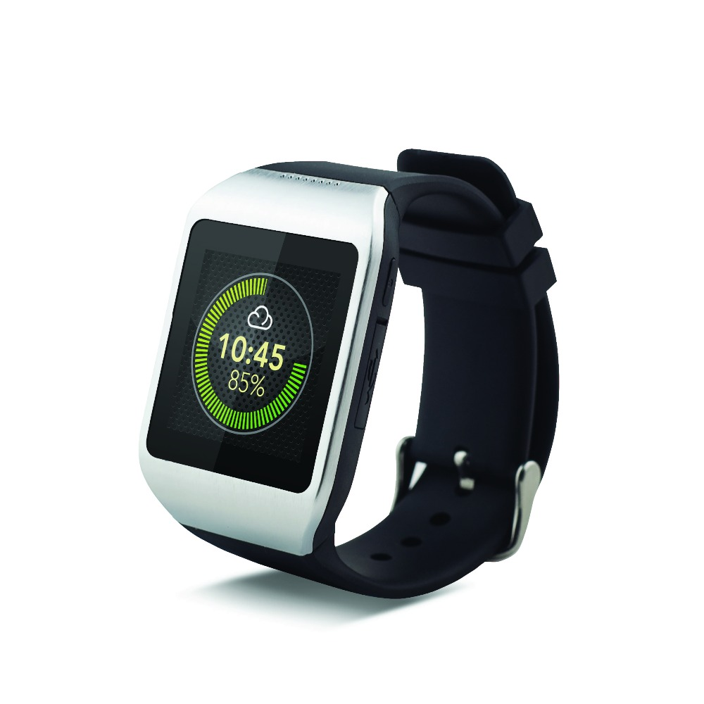 Silver and Black, Silicon Strap Strap and Metal Alloy Bluetooth SmartWatch