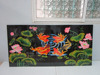 Lacquer wall art painting 4 in 1, lotus and yellow fish in lake, Vietnam handicraft
