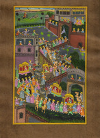 Mughal Procession Ethnic Painting On Old Stamp Paper Watercolor Miniature Hand Painted