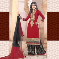 Red Georgette Embroidered Party Ware Semi-Stitched Salwar Suit-.