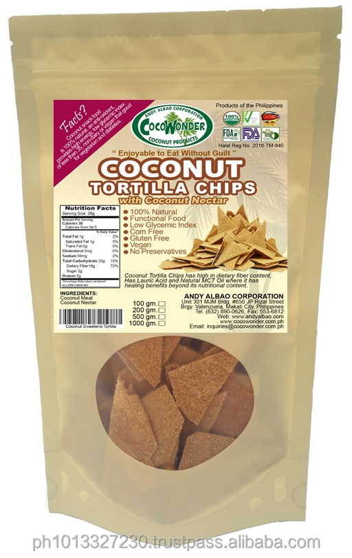 50grams COCONUT TORTILLA CHIPS with coconut nectar 100% Natural