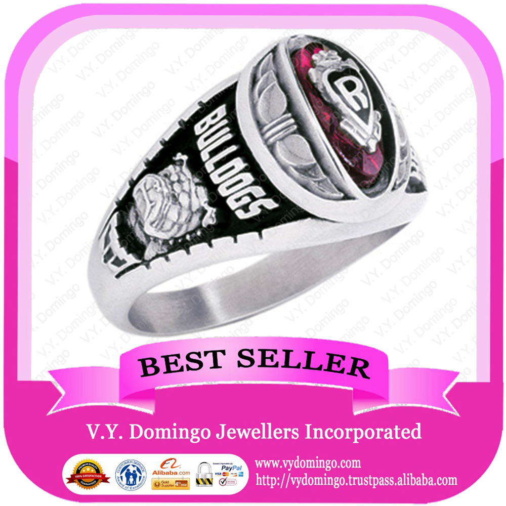 Pure Sterling Silver 925 Customized Wholesale College Ring with Emblem on Top of Stone Class Ring