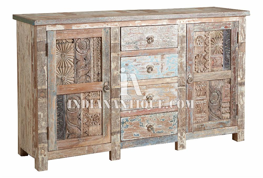 INDIAN RECYCLED WOOD HAND CARVED SIDEBOARD FURNITURE FROM INDIAN ANTIQUE RWC-018