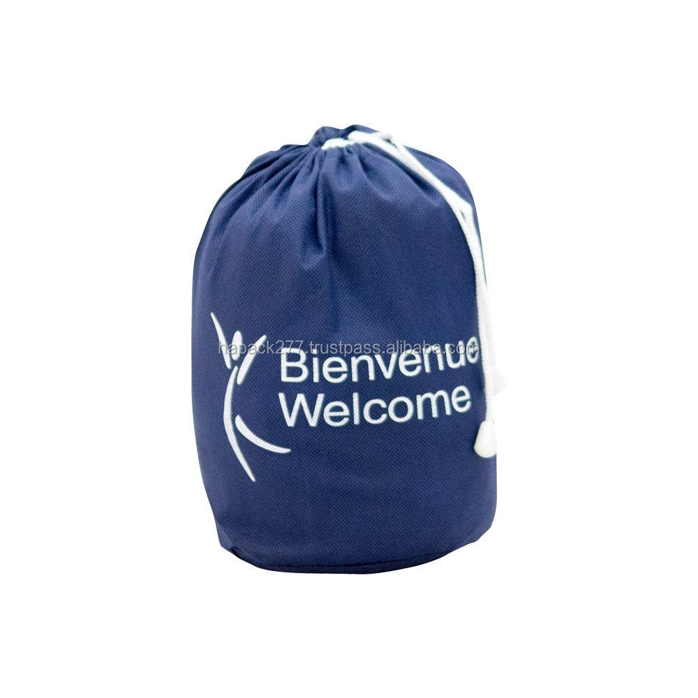 Summer Holiday Good Quality Printing Non Woven Drawstring Bag Blue Film