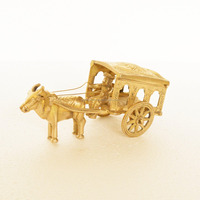 Pure Brass Metal Bullock Cart in Fine Finishing and Decorative art