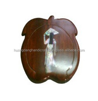 apple fruit with seashell girl inlay wooden mirror, small woodenware in the handbag