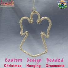 Beaded wire hanging flat metal Christmas ornaments 2016 angel