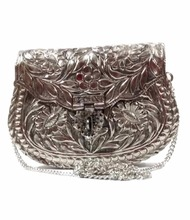 White Metal Party Ethnic Handmade Women metal Case clutch evening Bags purses