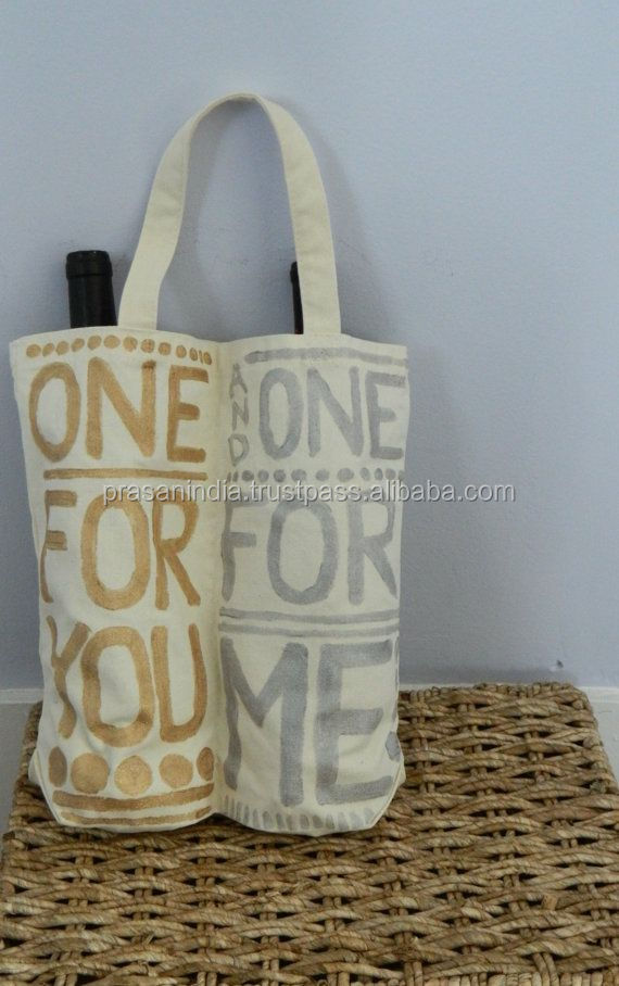 Personalized Fabric Wine Bottle Gift Bag