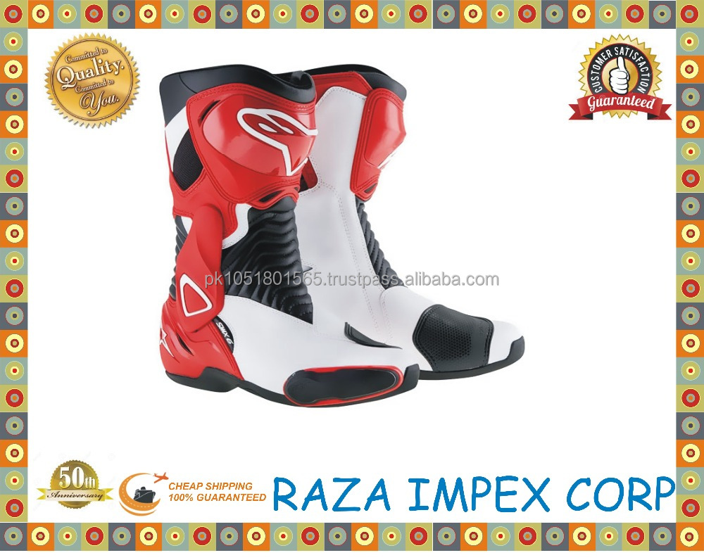Pakistan hot sale lightweight motorcycle riding boots for sale /mens leather Motorbike Riding Boots Motorcycle Shoes