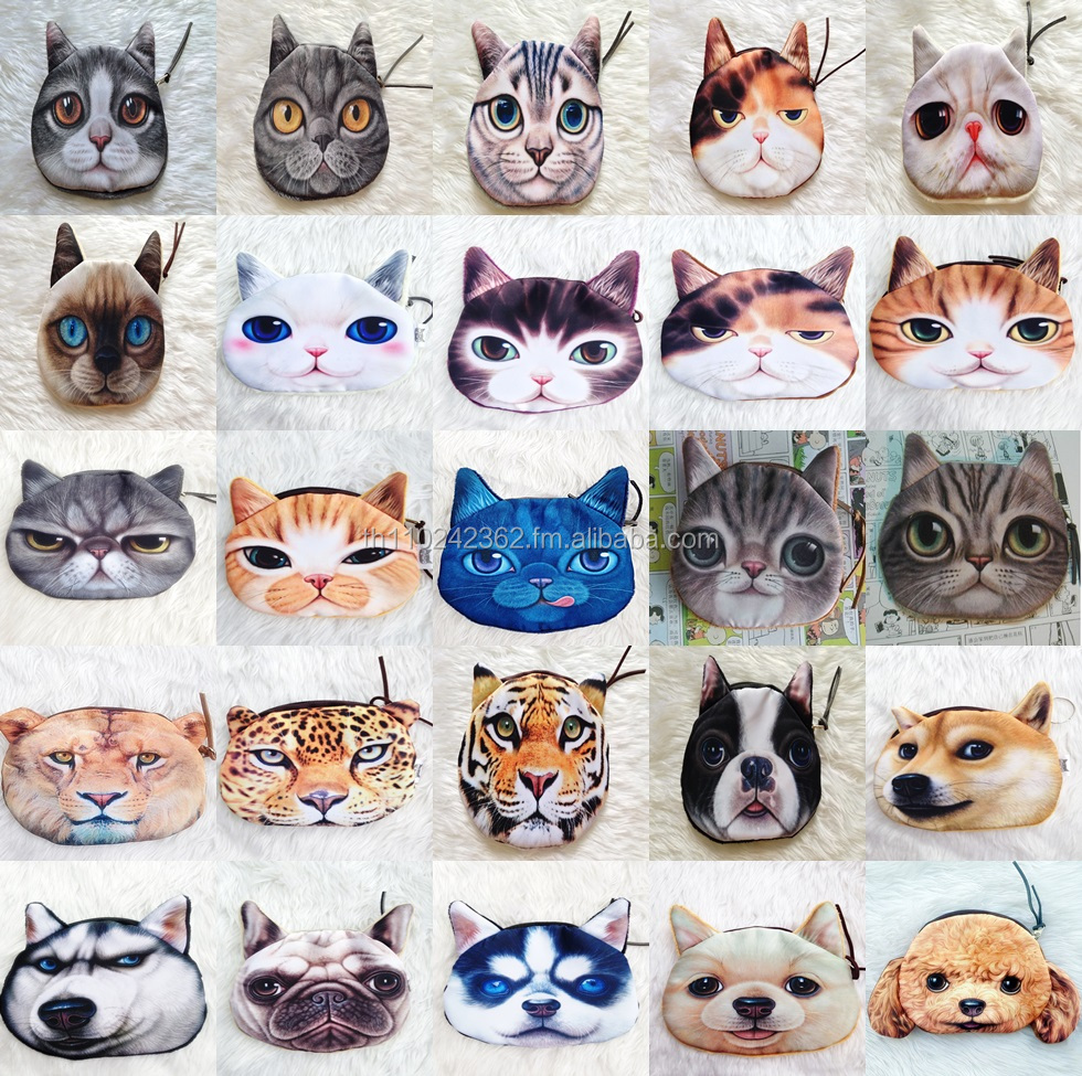 3D Animal Face Wallet Coin Purse Cats Dogs Design PetFace Fashion Wholsale