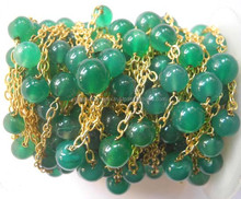 Green Onyx Round Plain Beaded 925 Sterling Silver Gold Plated Chain