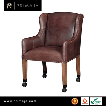 Chair on wheels with Genuine Leather Furniture Indonesia