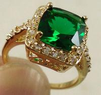 Women Fashion Jewelry 18K Yellow Gold Filled Emerald Wedding Engagement Ring