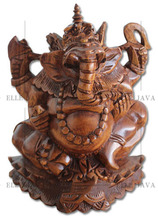 Wooden Craft Ganesha statue, hand carved brown polished