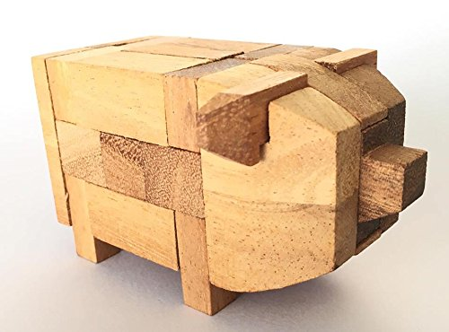 Handmade Kumiki Pig Wooden Puzzle - Wooden Puzzles for Adults