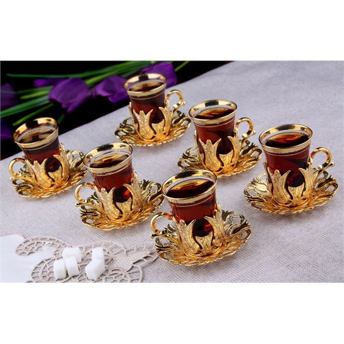 Turkish Tea Set of 6 Cups Golden Color Tea Set