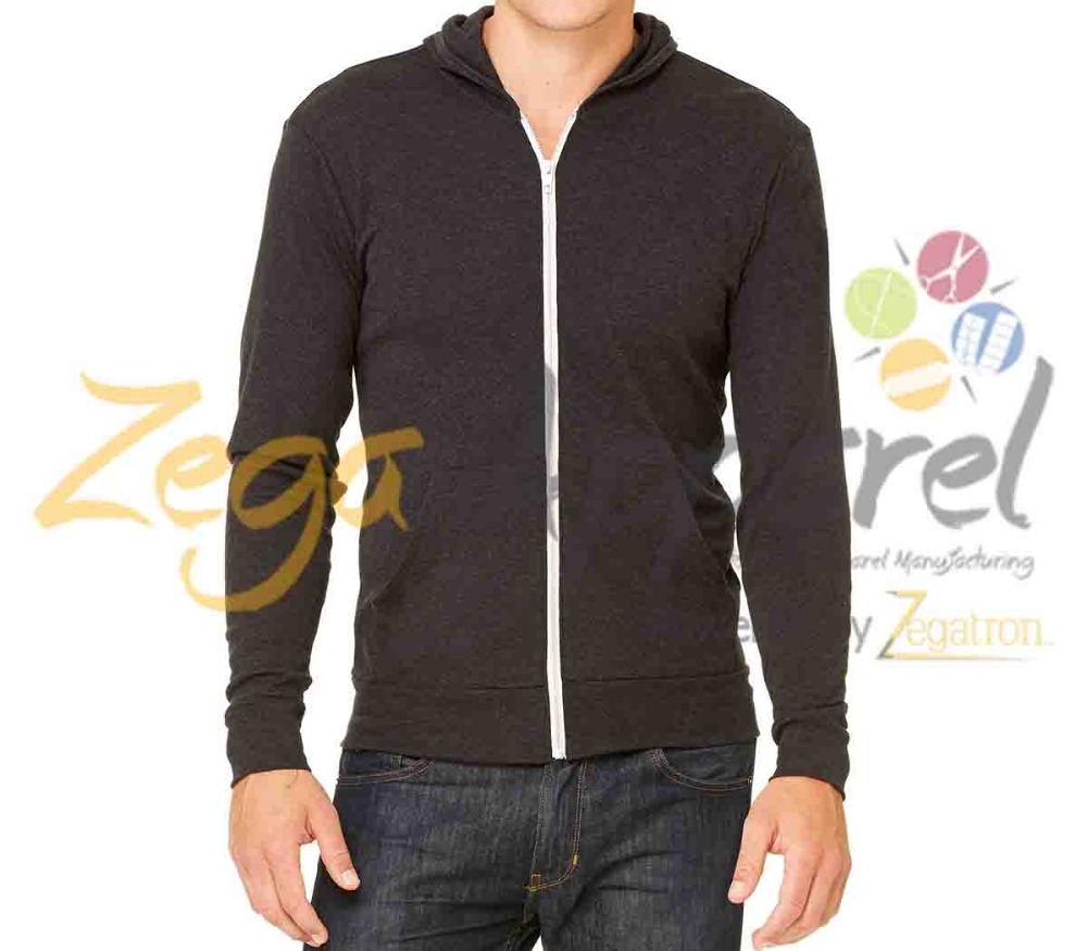 Zegaapparel OEM men's zipper up plain black hoody 2016 Fashion Custom Athletics Heathered Granite Hoodie