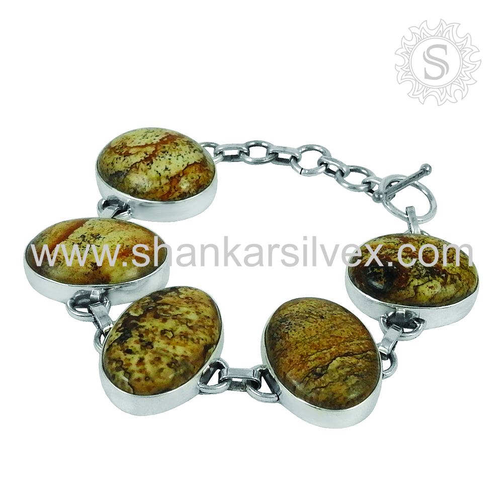 Heavy Work Handmade Silver Jewelry Picture Jasper Bracelet 925 Sterling Silver Jewelry Manufacturers