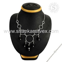 Souvenir Fashion Silver Jewelry Black Onyx Necklace Supplier 925 Silver Jewelry India