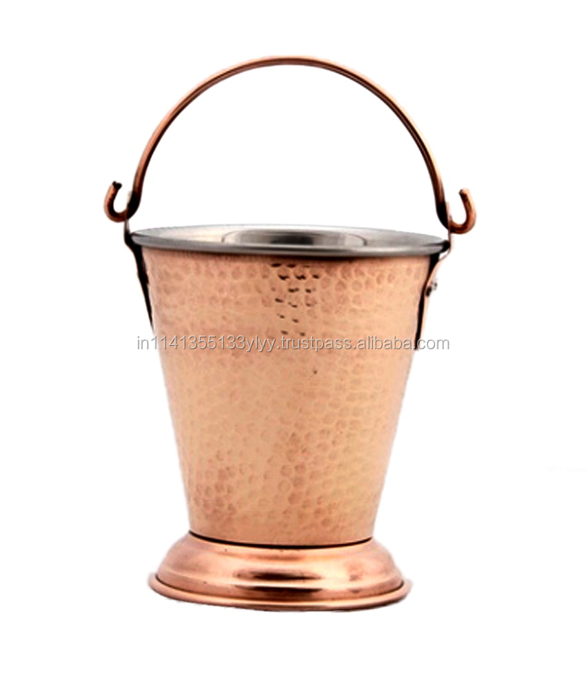Hammered Copper Stainless Steel Bucket (400 ML)