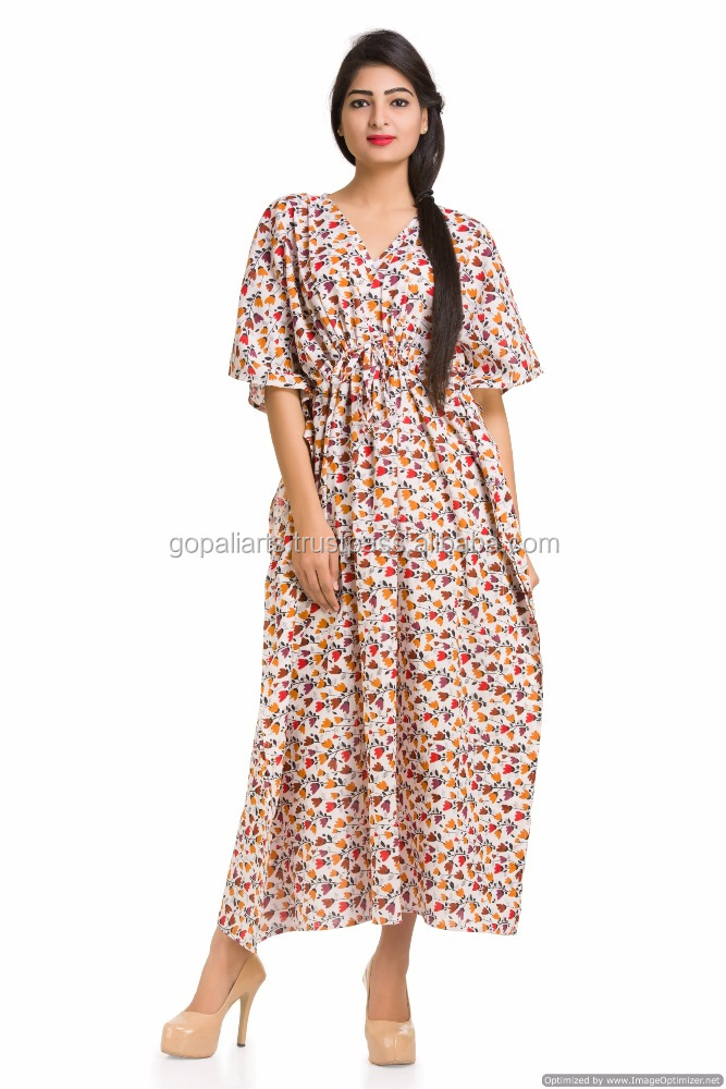Indian Kaftan Kimono Sleeves Bohemian Ethnic Cotton Handmade Tunic Style Gown Maxi Long Plus Size Dress
