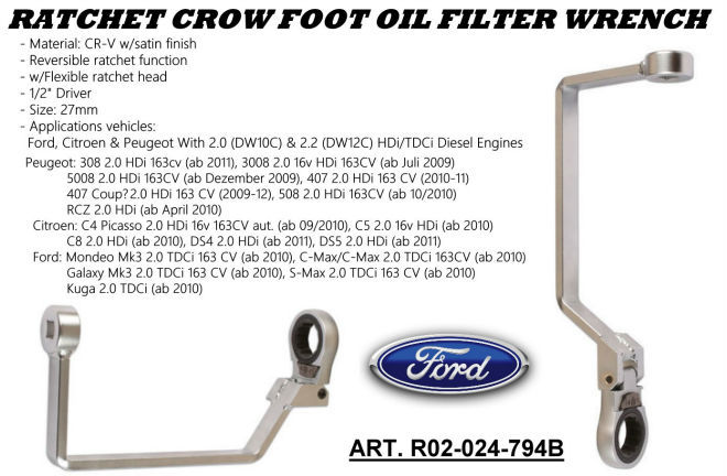 RATCHET CROW FOOT OIL FILTER WRENCH