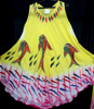Beautiful three fish printed yellow umbrella dress with 100% Rayon Indian Women Long Dresse for wholesale.