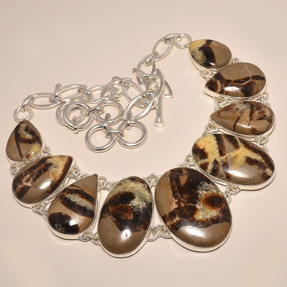 Natural Moroccan Mud Crack Fossil .925 Sterling Silver Natural Gemstone Necklace