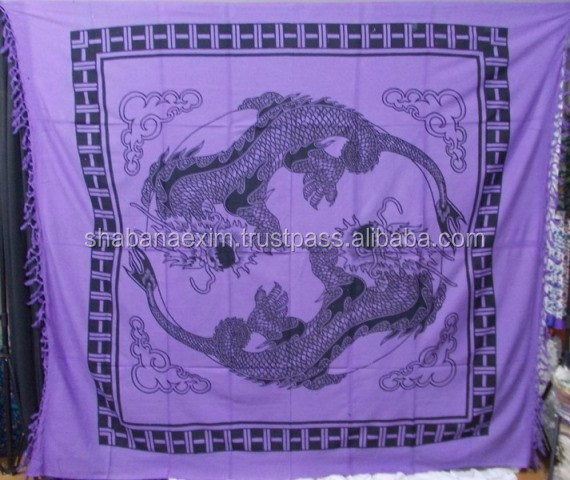 Printed dragon chinese tapestry bed sheet bed covers wall hangings sun and moon celestial zodiac tapestries