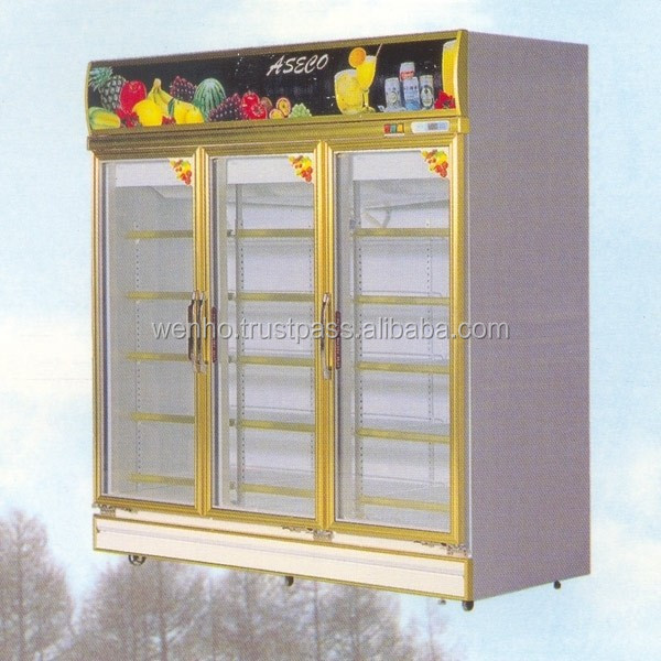 3 Heater Glass Door commercial Refrigerator