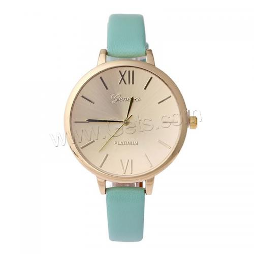 Women Wrist Watch PU with zinc alloy dial & Glass Chinese movement stainless steel pin buckle gold color plated adjustable