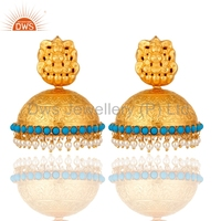 Fashion Gold Plated Goddess Design Turquoise Jhumka Earring, Silver Jhumka Pearl Beads Earring Jewelry