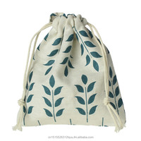 "Cotton & Linen Cloth Drawstring Storage Bag Off-white Leaf Pattern 16cm(6 2/8"") x 14cm(5 4/8""), 2 PCs"