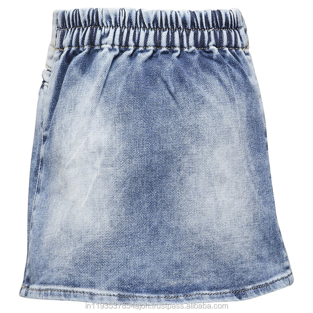 Top quality Ice blue girls soft denim skirt
