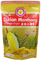 "Thai Ao Chi Brand Vacuum freeze dried Durian "" Monthong "" 100 g gold bag certified HACCP, ISO 22000 , GMP, HALAL and KOSHER"