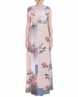 READYMADE DRESS HAVING PURE GEORGETTE FABRIC IN LIGHT BEIGE AND GREY COLOR WITH FLORAL AND GEOMETRIC PRINTED WORK