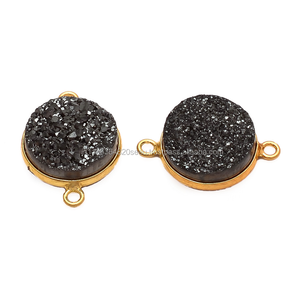 Wholesale Gemstone Connector- Black Druzy Station Round Connector - 12mm Gold Vermeil Bezel Link - Double Bail Charm Connector