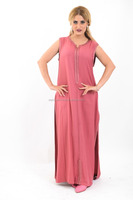 Beautiful sleeveless pink kaftan, soft and comfortable