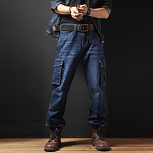 Big Size Man Hip Hop Jeans Baggy Men Cargo Pants Straight Cotton Male Fashion Denim Overalls Multi Pockets Trousers