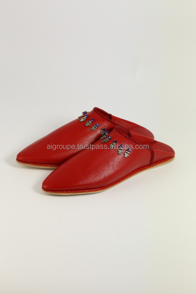 New models red babouche slippers for women, soft and flexible calf leather moroccan shoes.