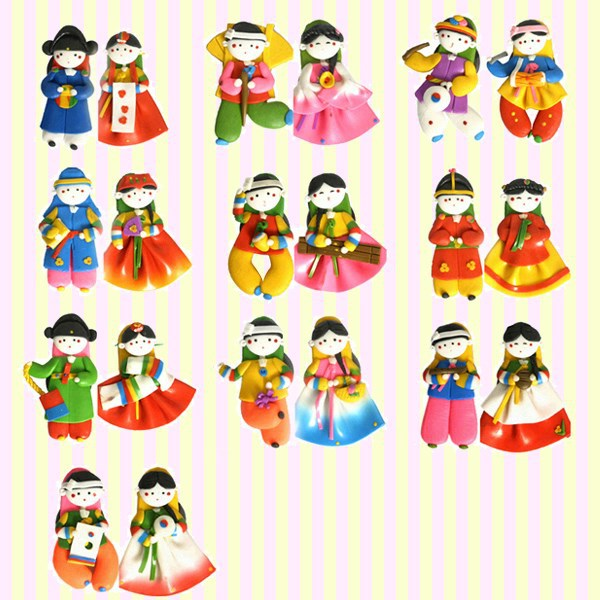 Korean Traditional Figures Color-mix Couple Fridge Magnets/Korean Folk Handicrafts/Korean Souvenirs/Korean Gifts