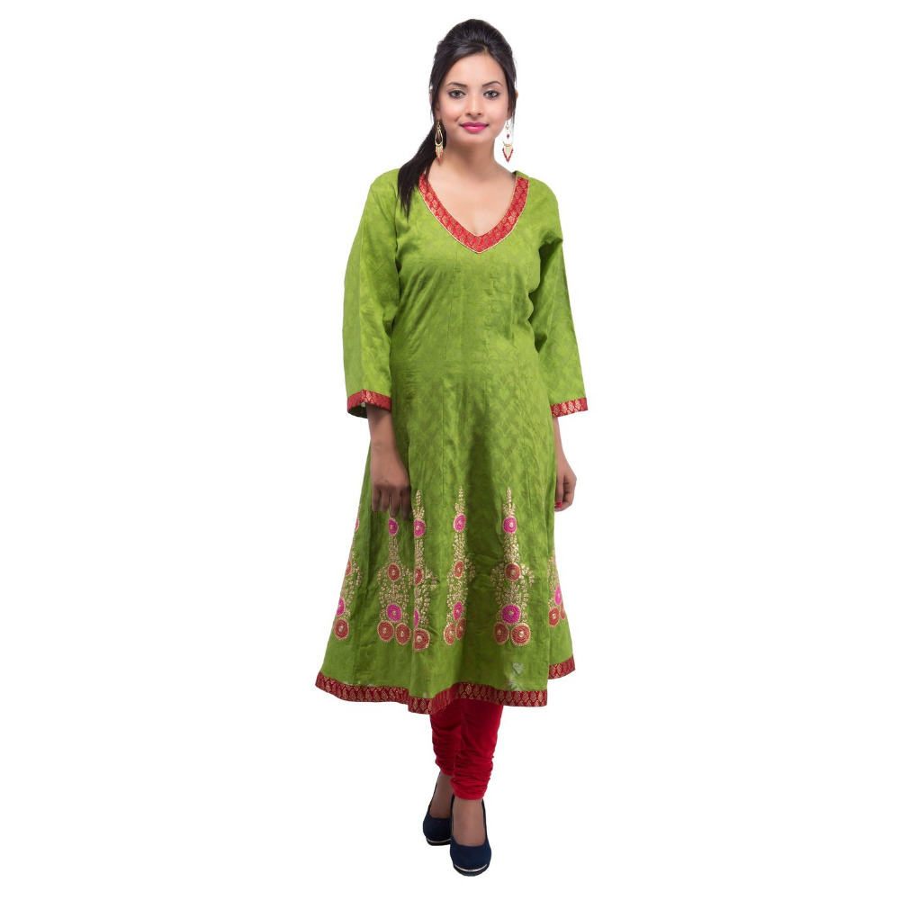 Plus Size Women's Green Cotton Anarkali Style Kurti ( DMK_100026 )