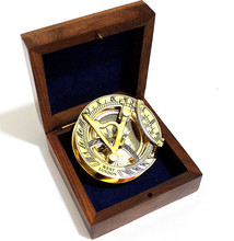Brass Pocket Sundial Compass with wooden box CHCOM078